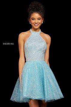 Rochie Sherri Hill 53145 light blue