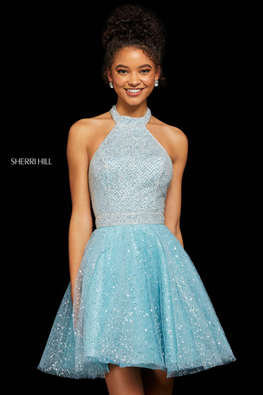 Rochie Sherri Hill 53145 light blue