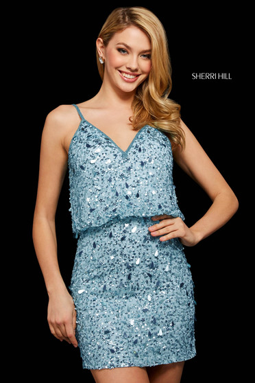 Rochie Sherri Hill 53148 light blue