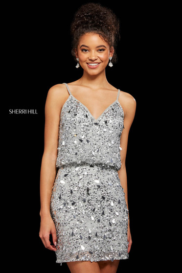 Rochie Sherri Hill 53148 silver