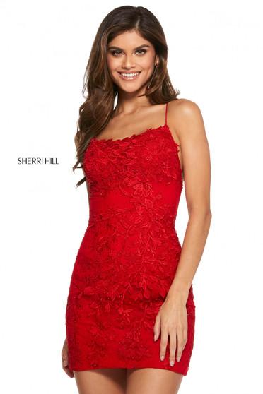 Rochie Sherri Hill 53151 red