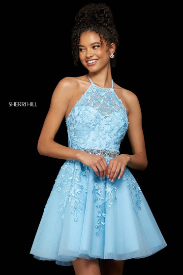 Rochie Sherri Hill 53153 light blue