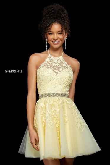 Rochie Sherri Hill 53153 yellow