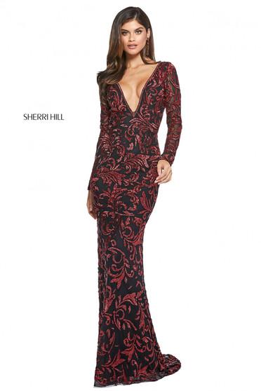 Rochie Sherri Hill 53161 black/red