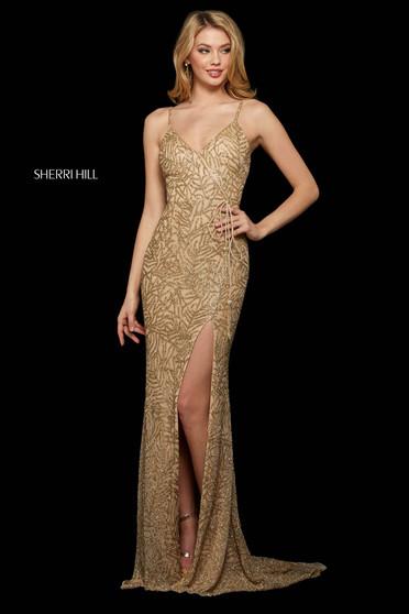 Rochie Sherri Hill 53162 nude/gold