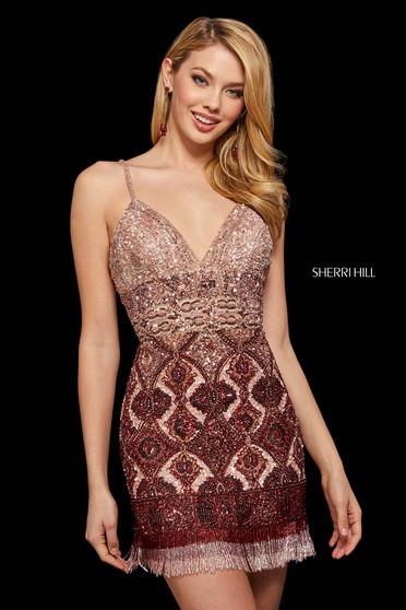 Rochie Sherri Hill 53173 blush/burgundy