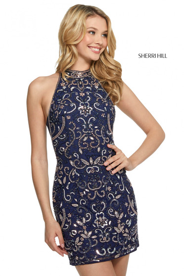 Rochie Sherri Hill 53230 navy/blush