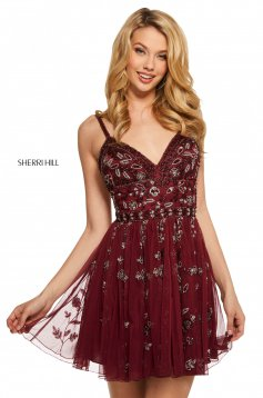 Rochie Sherri Hill 53234 burgundy
