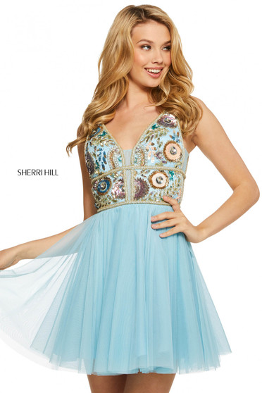 Rochie Sherri Hill 53242 light blue/multi