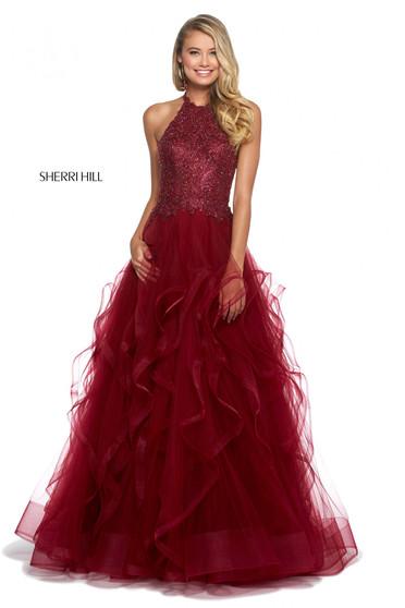 Rochie Sherri Hill 53249 burgundy