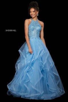 Rochie Sherri Hill 53249 light blue