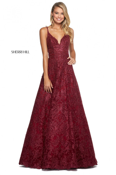 Rochie Sherri Hill 53250 burgundy