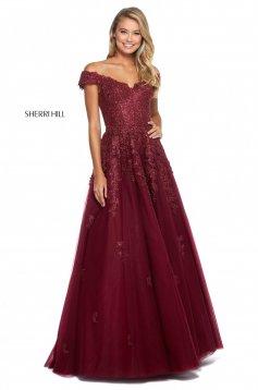 Rochie Sherri Hill 53251 burgundy
