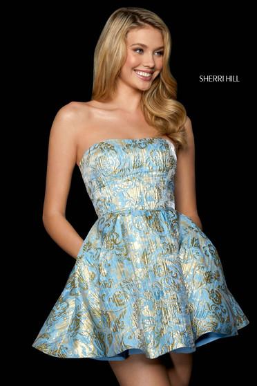Rochie Sherri Hill 53255 light blue/gold