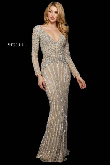 Rochie Sherri Hill 53292 nude/silver