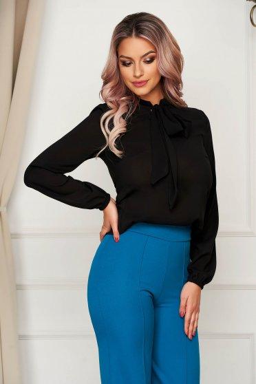 Bluza dama StarShinerS neagra eleganta cu croi larg din voal cu maneci lungi cu guler tip esarfa