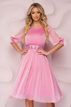 StarShinerS lightpink dress occasional midi cloche airy fabric
