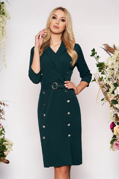 Rochie verde-inchis midi eleganta tip creion din stofa subtire cu maneci trei-sferturi si accesoriu tip curea