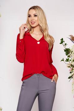 Camasa dama rosie scurta eleganta din material vaporos cu maneci lungi si guler