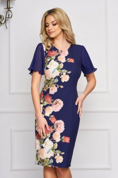 StarShinerS blue dress occasional pencil midi cloth with veil sleeves with butterfly sleeves with floral print