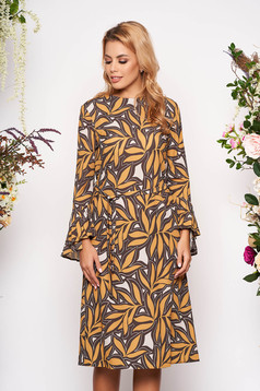 Mustard dress elegant midi a-line long sleeved with bell sleeve with rounded cleavage