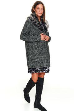 Palton Top Secret gri-inchis casual cu croi larg cu guler din blana ecologica