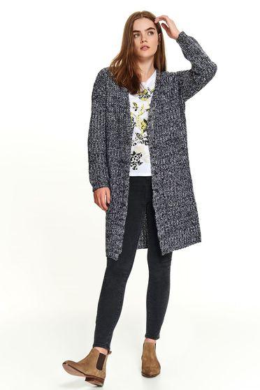 Pulover Top Secret gri casual tricotat tip cardigan cu croi larg cu buzunare fara inchidere