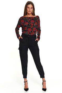 Bluza dama Top Secret neagra casual scurta cu croi larg cu maneci lungi si imprimeu floral