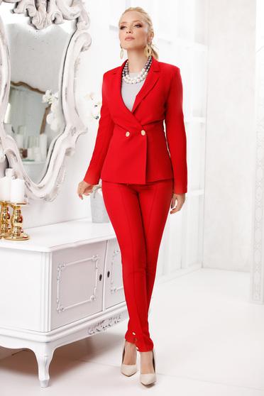 Pantaloni rosii Fofy lungi eleganti conici din stofa subtire cu buzunare accesorizati cu nasturi