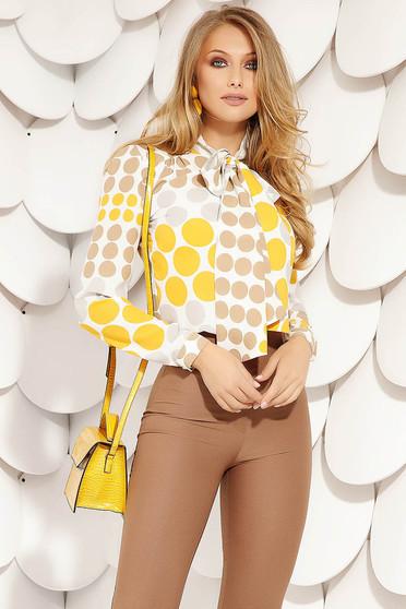 Bluza dama Fofy galbena eleganta scurta din material vaporos cu croi larg cu guler tip esarfa cu maneci lungi si buline