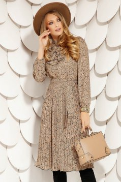 Brown elegant midi cloche folded up dress with geometrical print long sleeve and ruffles on the chest