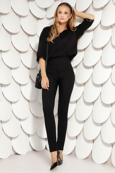 Pantaloni Fofy negri office conici din stofa usor elastica si inchidere cu fermoar in lateral
