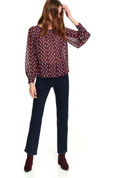 Bluza dama Top Secret piersica casual scurta din material vaporos cu croi larg cu maneci lungi si imprimeu geometric