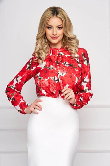 Bluza dama StarShinerS rosie scurta eleganta din material vaporos cu croi larg si maneci lungi