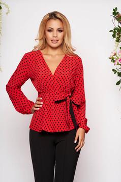 Bluza dama StarShinerS rosie office cu croi larg cu decolteu in v din material subtire cu buline