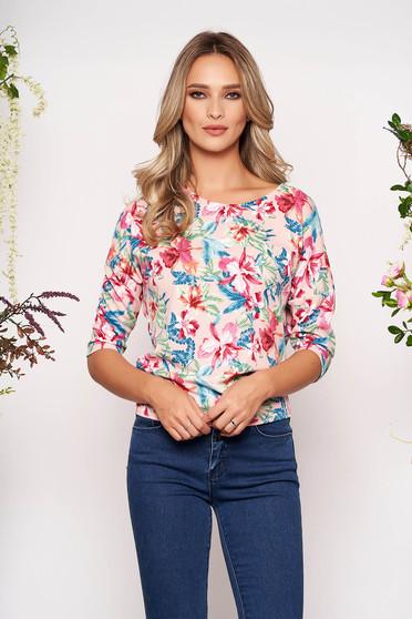 Bluza dama StarShinerS roz casual din material usor elastic material creponat cu imprimeuri florale cu maneca 3/4