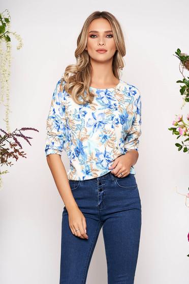 Bluza dama StarShinerS albastra casual din material usor elastic creponat cu imprimeuri florale cu maneca 3/4
