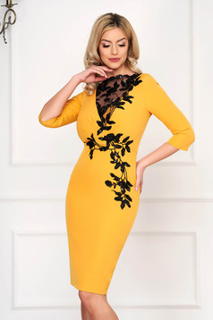 Mustard dress occasional midi cloth from elastic fabric with 3/4 sleeves embroidered