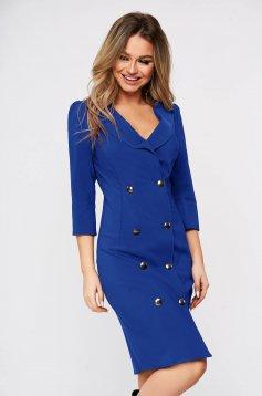 Rochie Artista albastra eleganta petrecuta tip sacou din stofa usor elastica accesorizata cu nasturi