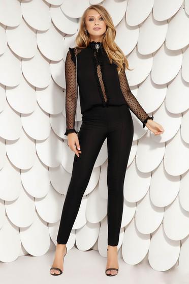 Pantaloni Fofy negri eleganti cu talie medie cu un croi drept cu accesoriu tip curea