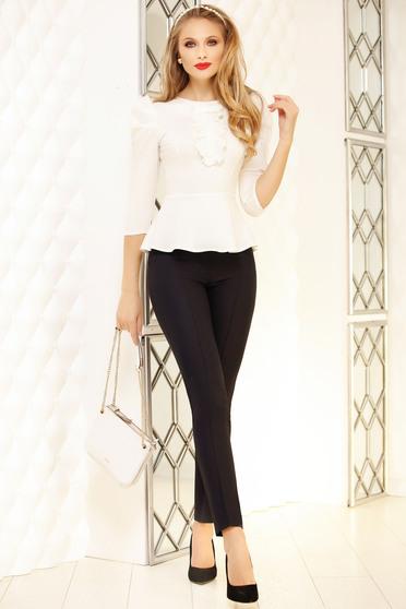 Pantaloni Fofy negri eleganti cu un croi drept cu talie medie si accesoriu tip curea