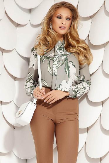 Bluza dama Fofy gri eleganta scurta din voal cu croi larg cu guler tip esarfa si imprimeu floral