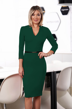 StarShinerS green dress office midi pencil cloth from elastic fabric with v-neckline with 3/4 sleeves