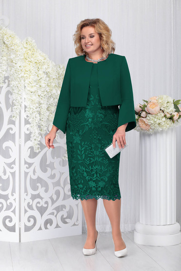 Compleu verde-inchis elegant din 2 piese cu rochie din stofa usor elastica din dantela