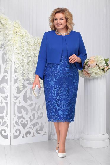 Compleu albastru elegant din 2 piese cu rochie din stofa usor elastica si din dantela