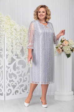 Grey occasional dress straight with 3/4 sleeves