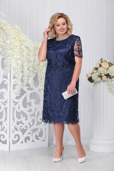 Rochie albastru-inchis de ocazie cu un croi drept din dantela captusita pe interior