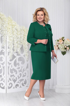 Green elegant 2 pieces lady set with dress