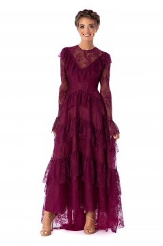 Ana Radu raspberry dress luxurious long cloche laced with ruffle details long sleeved with bell sleeve