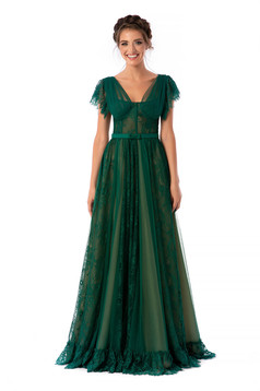 Ana Radu luxurious cloche long corset green dress with lace frilly straps and detachable cord